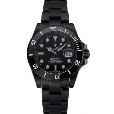AAA Fake Swiss Rolex Submariner Date Black Dial And Bezel Black PVD Case And Bracelet