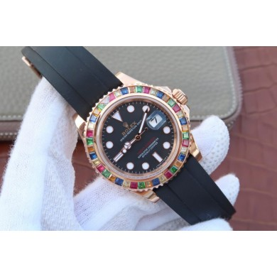 First-class Quality Rolex Yacht-Master 40mm 116695SATS Black Rubber Strap WJ00925