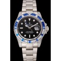 Swiss Rolex GMT Master II Black Dial Stone Set Bezel Stainless Steel Case And Bracelet 1453747