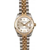 Fashion Mid-Size Rolex Datejust 178343SRDJ Diamond Bezel JW0384