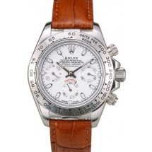 Knockoff Rolex Daytona Lady Stainless Steel Case White Dial Brown Leather Strap Tachymeter