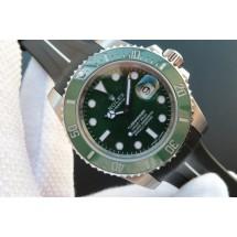 Knockoff Rolex Submariner 116610 LV Green Ceramic V7 Black Rubber Strap Rolex WJ01091