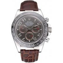 Replica AAAAA Rolex Cosmograph Daytona Stainless Steel Case Grey Racing Dial Leather Bracelet 622632