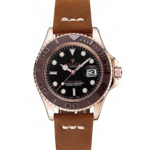 Rolex Yacht Master Black Dial Brown Bezel Rose Gold Case Brown Leather Bracelet 1453860