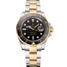 Swiss Rolex Submariner Black Dial And Bezel Two Tone Steel Gold Bracelet