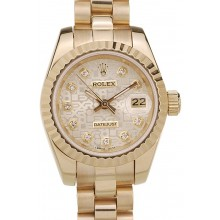 1:1 Rolex DateJust Ribbed Pattern Gold Bezel Gold Dial