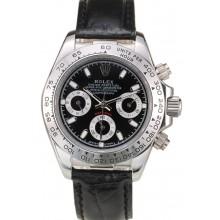 1:1 Rolex Daytona Lady Stainless Steel Case Black Dial Black Leather Strap Tachymeter