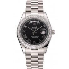 1:1 Swiss Rolex Day-Date Black Dial Diamond Case Stainless Steel Bracelet 1453964