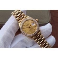 AAA 1:1 Rolex DateJust 31mm Diamonds Bezel/Markers Case Gold Dial Rolex WJ00598