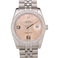 AAA Imitation Rolex DateJust Brushed Stainless Steel Case Orange Flowers Dial Diamonds Plated