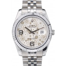 AAA Rolex DateJust Stainless Steel Ribbed Bezel Flower Silver Dial 41983