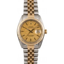 AAA Rolex Two Tone Datejust Champagne Linen Dial 16013 JW2526