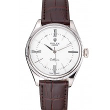 AAAAA Copy Rolex Cellini White Dial Stainless Steel Case Brown Leather Strap 622839