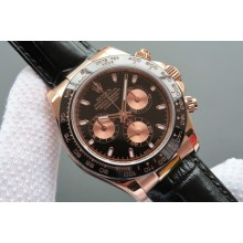 AAAAA Replica Rolex Daytona 116515 Black/RG Dial Black Leather Strap Rolex WJ00476