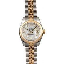 AAAAA Replica Rolex Lady Datejust 179173 MOP Diamond Dial JW0537