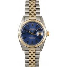 Best 1:1 Vintage Rolex Datejust 1601 Blue Dial Two Tone JW2893