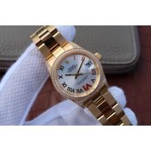 Best Knockoff Rolex DateJust 31mm Diamonds Bezel Roman Markers White Dial WJ00201