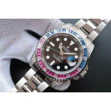 Best Quality Imitation Rolex GMT-Master II 116759 Black Dial Blue/White Bezel WJ01077