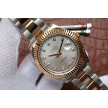 Best Quality Knockoff Rolex DateJust White Dial Wrapped Fluted Beze Bracelet WJ00932