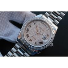 Best Rolex Day-Date 218399 Roman Numerals Full Diamonds A3255 WJ01099