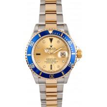 Blue Rolex Submariner Serti Diamond Dial 16613 JW0046