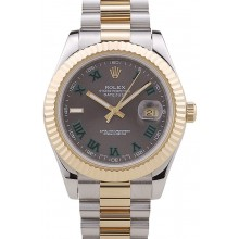 Cheap Rolex Datejust Grey Dial Gold Ribbed Bezel 7479