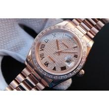 Cheap Rolex Day-Date 218399 Roman Numerals Full Diamonds A3255 WJ01397
