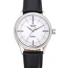 Cheap Swiss Rolex Cellini Time Silver Case White Dial Black Leather Bracelet 622653