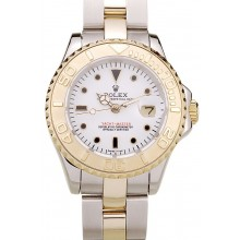 Copy High Quality Rolex Yacht Master Gold Tachymeter White Dial