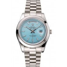 Copy Swiss Rolex Day Date 40 Platinum Ice Blue Dial Stainless Steel Case And Bracelet