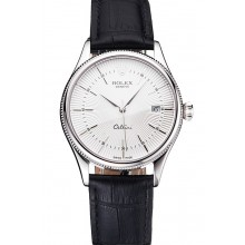Copy Top Swiss Rolex Cellini Date White Dial Stainless Steel Case Black Leather Strap