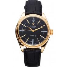 Fake Fake Rolex Cellini Black Dial Gold Case Black Leather Strap 622832
