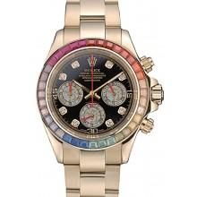 Fake Rolex Daytona Cosmograph Rainbow Crystals Bezel Rose Gold Strap Black Dial 80251
