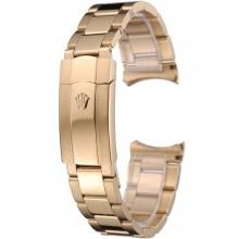 Fake Rolex Polished and Brushed Gold Bracelet 622495