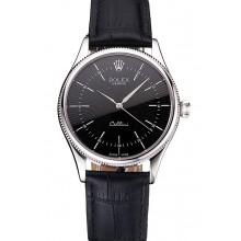 Fake Swiss Rolex Cellini Black Dial Steel Case Black Leather Strap