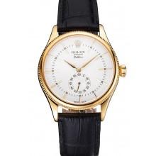 Fake Swiss Rolex Cellini White Dial Gold Case Black Leather Strap