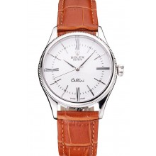 Fake Swiss Rolex Cellini White Dial Roman Numerals Stainless Steel Case Light Brown Leather Strap