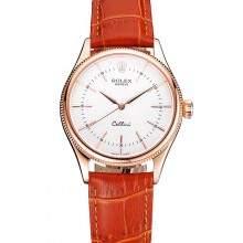 Fake Swiss Rolex Cellini White Dial Rose Gold Case Brown Leather Strap