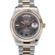 Fashion Rolex DayDate Grey Dial Dual Colored Stainless Steel Strap 41981