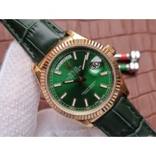 High Quality Fake Rolex Day-Date 118138 Green Dial Green Leather Strap Rolex WJ00410