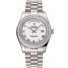 High Quality Fake Swiss Rolex Day-Date White Dial Diamond Case Stainless Steel Bracelet 1453967