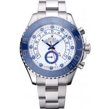 Hot Imitation Rolex Yacht Master II White Dial Blue Bezel Stainless Steel Bracelet 622269
