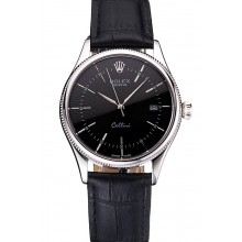 Hot Swiss Rolex Cellini Date Black Dial Stainless Steel Case Black Leather Strap
