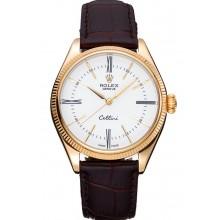 Imitation Rolex Cellini White Dial Gold Case Brown Leather Strap 622833