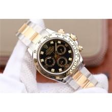 Imitation Rolex Daytona 116523 Thick Wrapped Black Dial Diamonds Markers Bracelet Rolex WJ00552