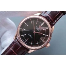 Imitation Rolex MK Cellini Time 50505 Black Dial Leather Strap Rolex WJ00787