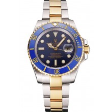 Imitation Swiss Rolex Submariner Blue Dial And Bezel Two Tone Steel Gold Bracelet
