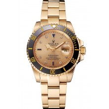 Imitation Swiss Rolex Submariner Gold Dial With Diamond Markings Black Bezel Yellow Gold Case And Bracelet