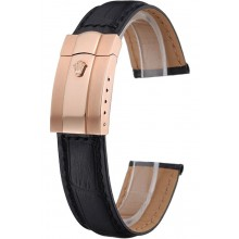 Knockoff Rolex Black Leather with Rose Gold Clasp Bracelet 622498