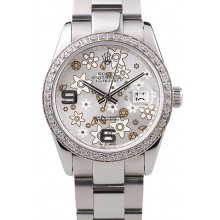 Knockoff Rolex Datejust Stainless Steel Silver Flowers Dial Diamond Plated rl305